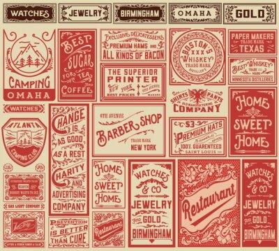 Sticker Mega pack retro advertisement designs and labels - Vector illust
