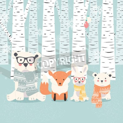 Sticker Merry Christmas postcard with bears, fox and rabbit in forest illustration