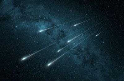 Sticker meteor shower in the starry night sky