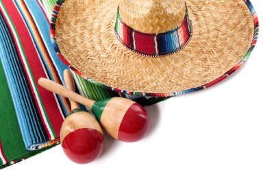 Sticker Mexican blanket and sombrero