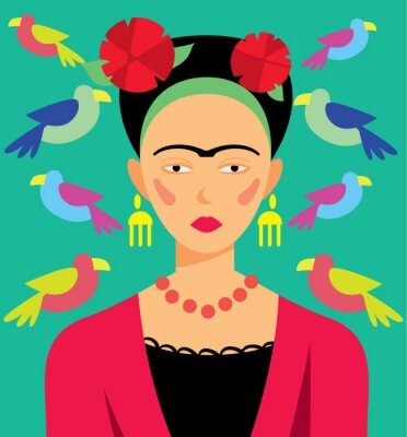 Sticker Mexican woman in makeup, vector illustration. Cartoon Characters.