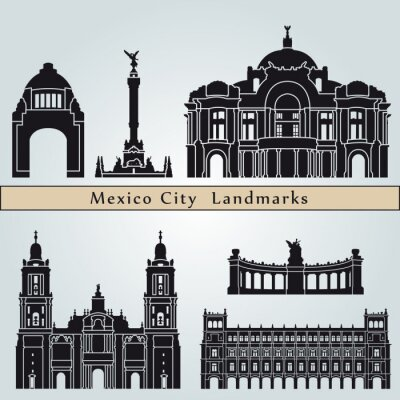 Sticker Mexico City landmarks and monuments