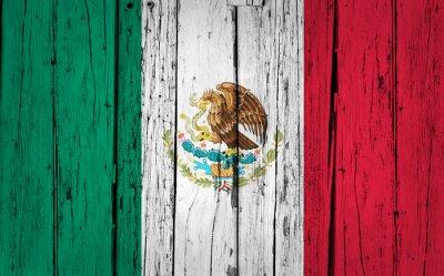 Sticker Mexico Flag Grunge Background
