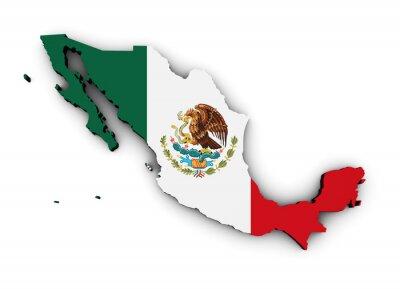 Sticker Mexico Flag Map