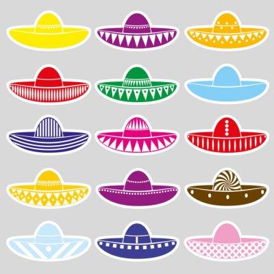 Sticker Mexico sombrero hat variations stickers set eps10