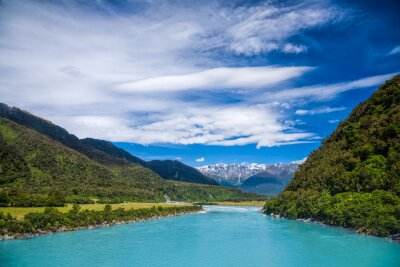Sticker Milky blue glacial water of Whataroa River in New Zealand