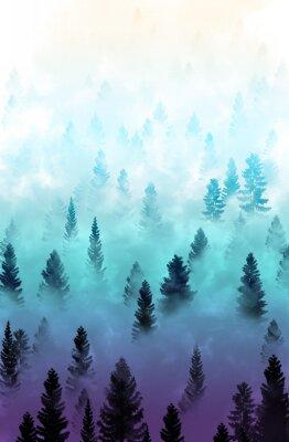 Sticker misty forest landscape