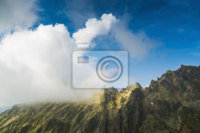Misty rocky mountains