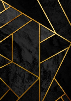 Sticker Modern and stylish abstract design poster with golden lines and black geometric pattern.