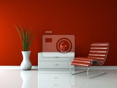Sticker Modern Design - Red deck chair