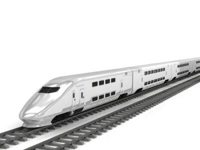 Sticker Modern high speed train on white background