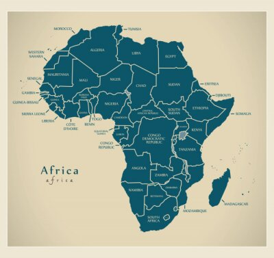 Sticker Modern Map - Africa continent with country labels