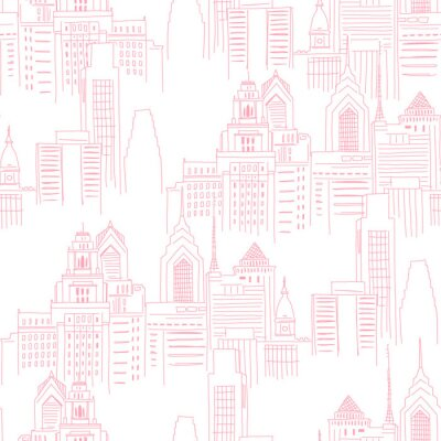 Sticker Modern New York city scape in pink colour. Girlish Superhero themed neutral seamless pattern. Vector doodle graphics. Perfect for little girl design like t-shirt textile fabric print birtday party