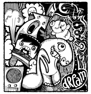 Sticker Modern sketchy style image of Bad Dream