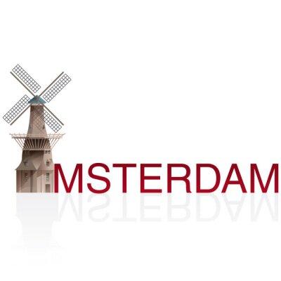 Sticker MOLEN DE GOOYER, Amsterdam. Vectors of European monumentals cities.