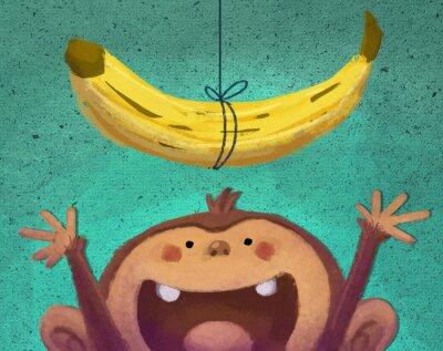 Sticker mono y plátano