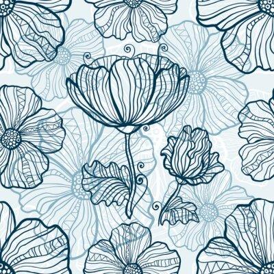 Sticker Monochromatic poppy flowers seamless pattern