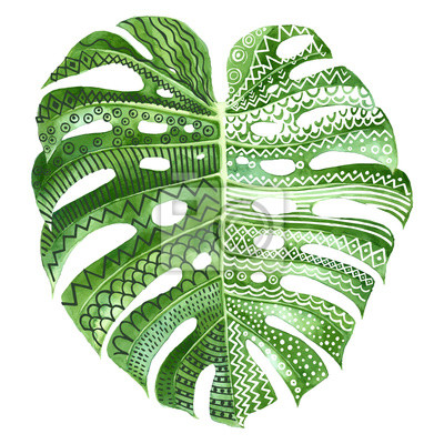 Sticker Monstera plant leaf with ethnic ornaments