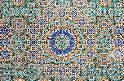 Sticker moroccan vintage tile background