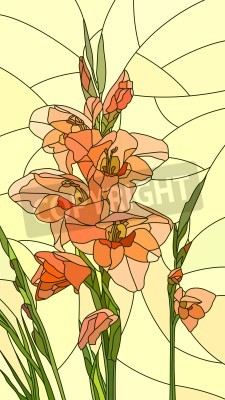 Sticker Mosaic with large cells of gladiolus on yellow.