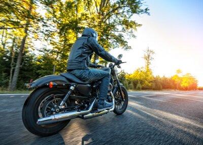 Sticker Motorcyclist riding  chopper on a road
