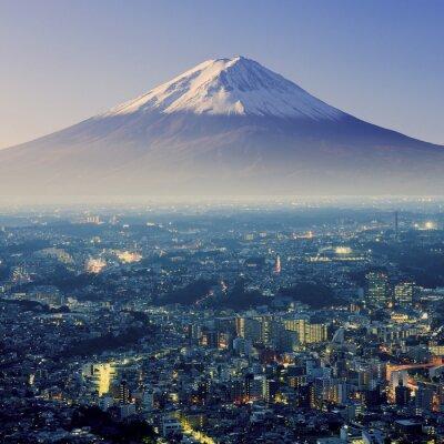 Sticker Mount Fuji. Fujiyama. Aerial view with cityspace surreal shot. J