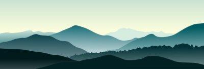 Sticker Mountain landscape in the summer morning. Horizontal vector illustration.