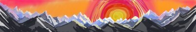 Sticker mountain sunrise or sunset, digital abstract art painting of rugged mountain range with huge colorful sun setting or rising, website header or footer