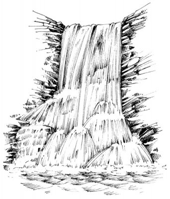Sticker Mountains waterfall graphic illustration