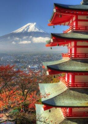 Sticker Mt. Fuji and Autumn Leaves at Arakura Sengen Shrine in Japan