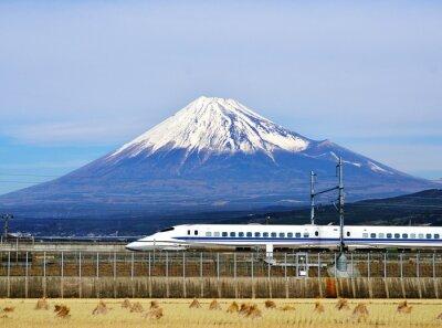Sticker Mt. Fuji and the Bullet Train