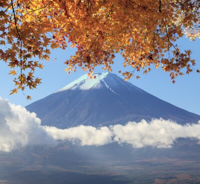 Sticker Mt. Fuji with fall colors in Japan