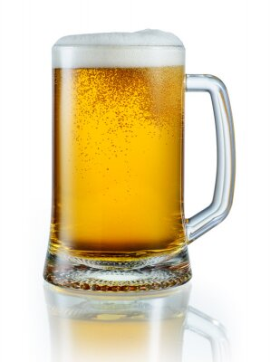 Sticker Mug of light beer isolated on white background. With clipping pa