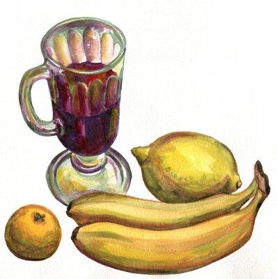 Sticker Mulled wine, bananas, lemon and Mandarin. Watercolor painting