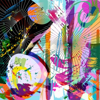 Sticker multicolored abstract composition, vector format