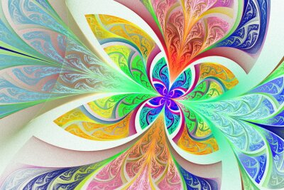 Sticker Multicolored Fractal flower or butterfly background in stained-g