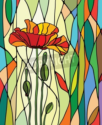 Sticker Multicolored stained glass with floral motif