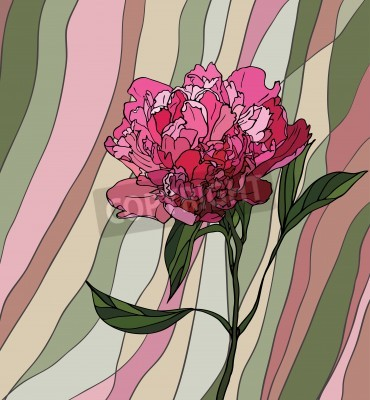 Sticker Multicolored stained glass with floral motif, a peony on a multicolored striped background