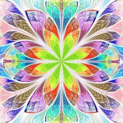 Sticker Multicolored symmetrical fractal flower in stained-glass window
