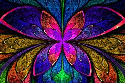 Sticker Multicolored symmetrical fractal pattern as flower or butterfly