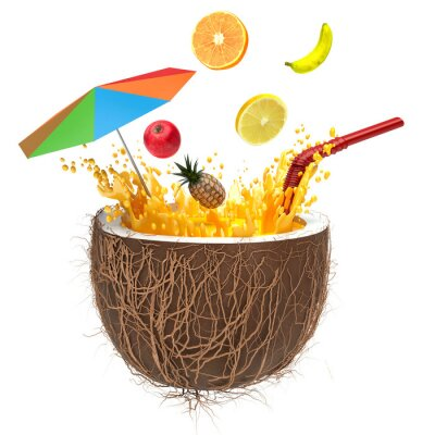 Sticker multifruit juice in the coconut with a straw and spray