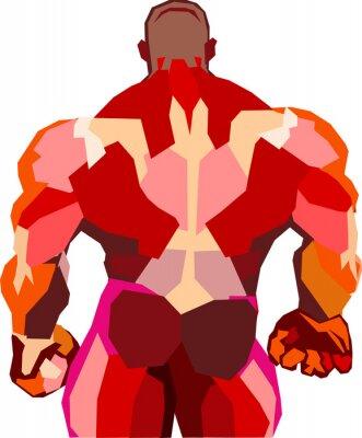 Sticker Muscular bodybuilder in a gym