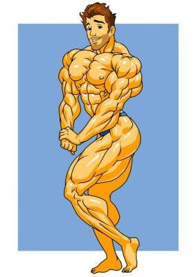 Sticker muscular bodybuilder posing,illustration,color,logo,isolated on a white