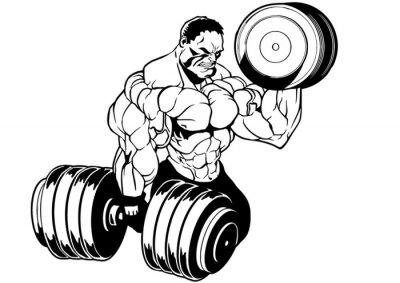 Sticker muscular bodybuilder workout
