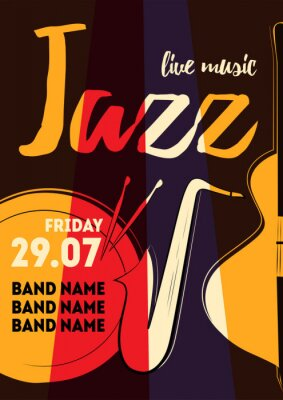 Sticker Music poster vector illustration for event design, party poster, postcard or invitation. Event poster with drum, saxophone, bass