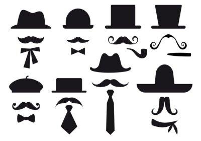 Sticker mustache and hats, vector set