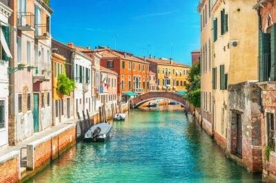 Sticker Narrow canal in Venice, Italy.