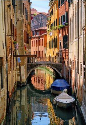 Sticker Narrow channel street in Venice, Italy