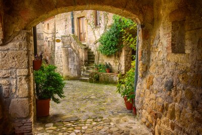 Sticker Narrow street of medieval tuff city Sorano with arch, green plants and cobblestone, travel Italy background