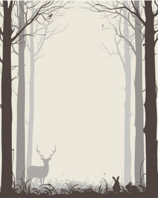 Sticker natural background with silhouettes of trees and animals